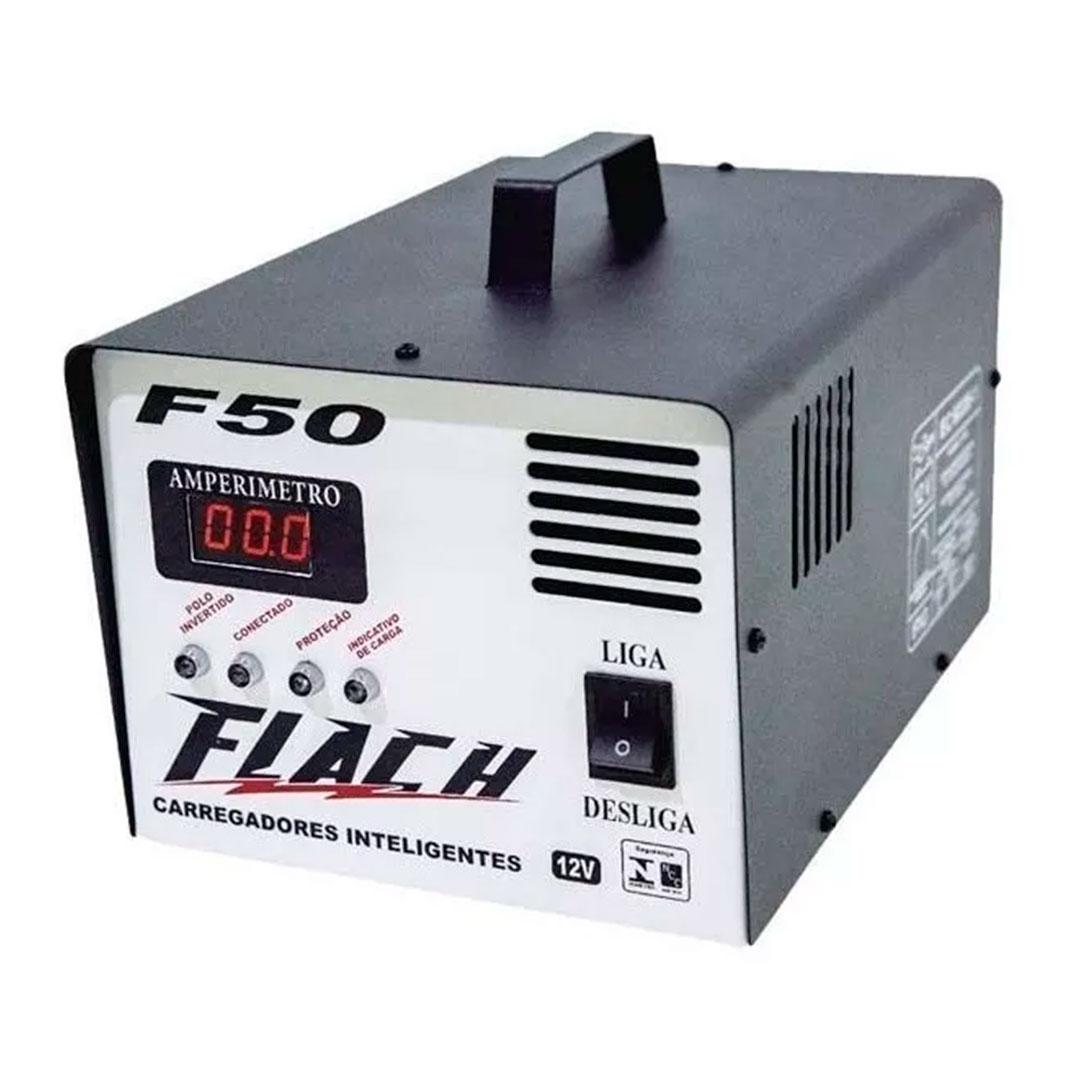 Carregador de Bateria Sutomotivo Inteligente 50A Aux. Partida Bivolt F50 Flach