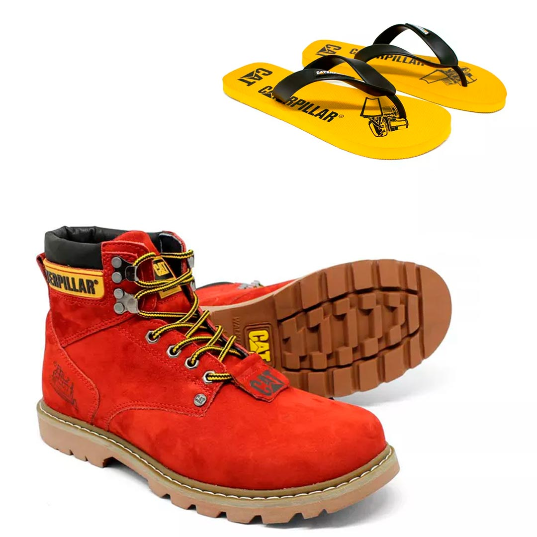 Bota caterpillar vermelho botina + chinelo tiras
