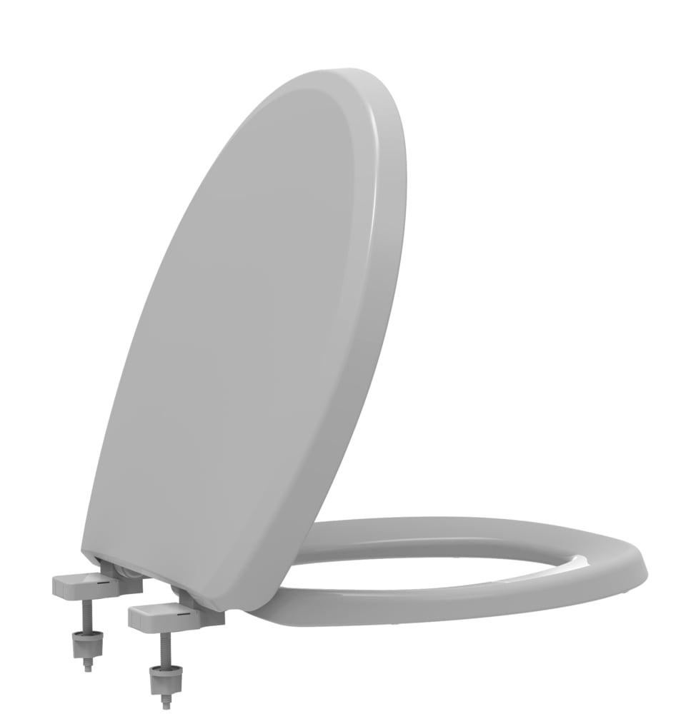 Assento sanitário Universal Oval Evolution cinza convencional polipropileno