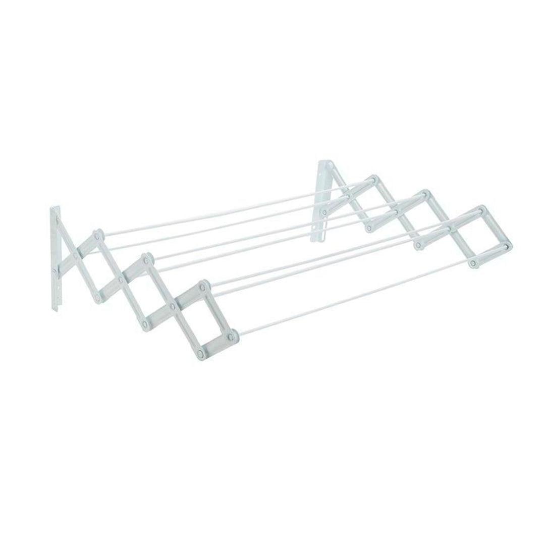 Varal de parede retrátil sanfonado branco ABS 100 cm