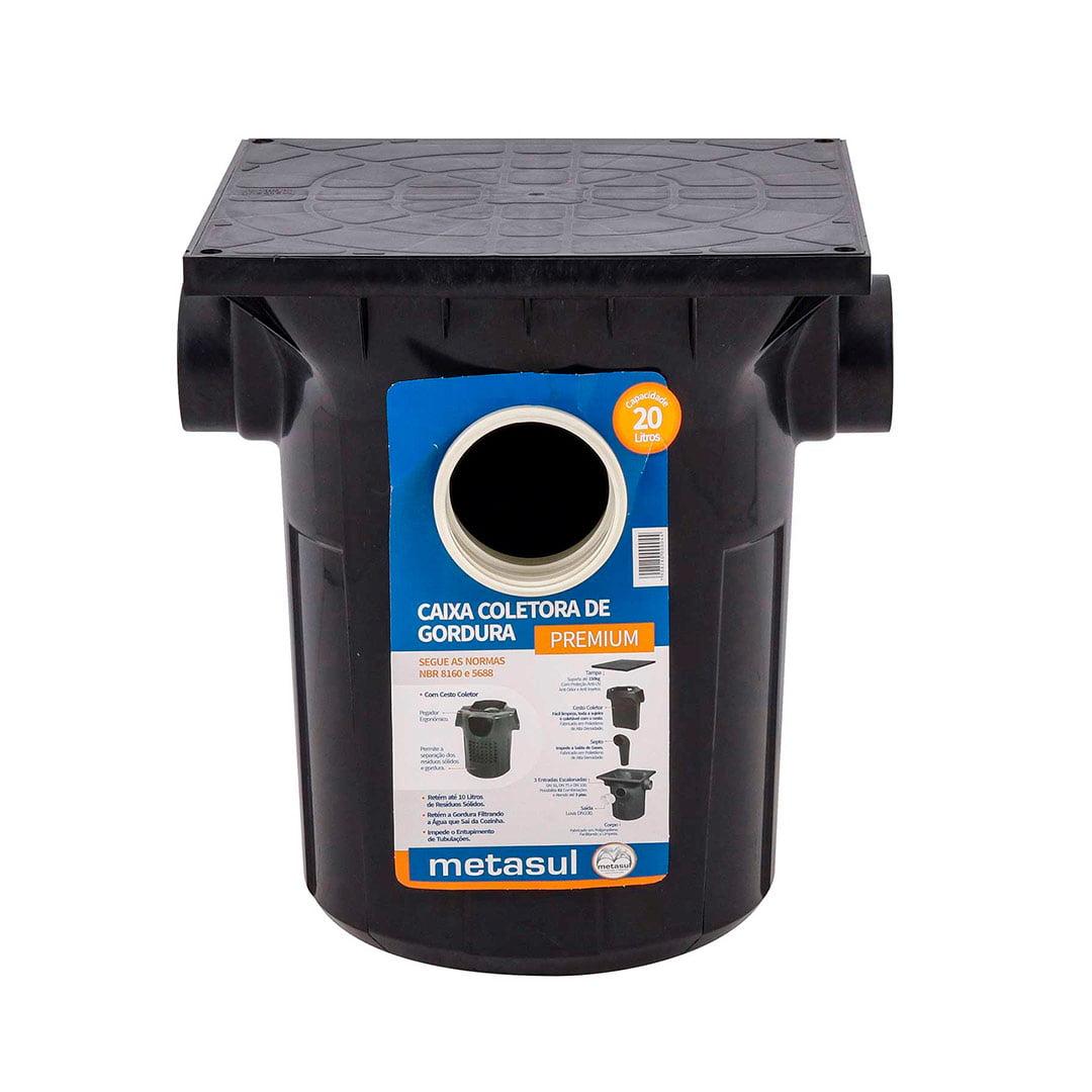 Caixa de gordura coletora premium com cesto 20L preta Metasul