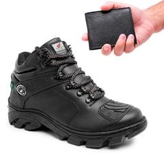 Bota masculina de couro com palmilha em gel + carteira