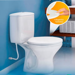 Assento sanitário almofadado multi cinza convencional polietileno