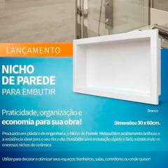 Nicho de parede para embutir branco 30X40 cm