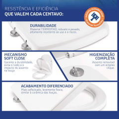 Assento Carrara Duna Level Nexo Smart Vesuvio Neo easy clean branco soft close polipropileno Tigre