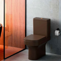 Assento sanitário Carrara Link Lk Duna Nuova Vesuvio marrom fosco slow close resina termofixo