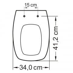 Assento sanitário Fiori Prímula Amarílis Hervy Laguna Celite Stylus creme soft close polipropileno