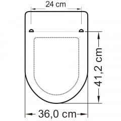 Assento sanitário Incepa Calypso cinza convencional polipropileno