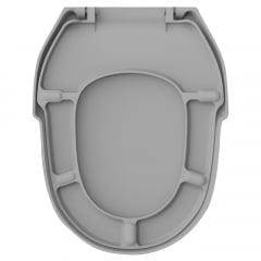 Assento sanitário Incepa Hampton cinza convencional resina termofixo