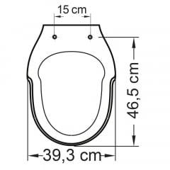 Assento sanitário Incepa Hampton preto convencional resina termofixo