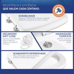 Assento sanitário Incepa Thema branco soft close easy clean Tigre resina termofixo
