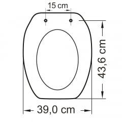 Assento sanitário Incepa Thema cinza convencional resina termofixo