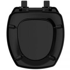 Assento sanitário Incepa Thema preto convencional resina termofixo