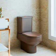 Assento sanitário Polo Unic Quadra Roca Debba Gap marrom fosco slow close resina termofixo
