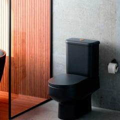 Assento sanitário Polo Unic Quadra Roca Debba Gap preto fosco slow close resina termofixo