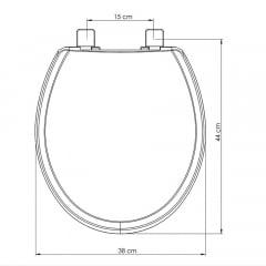 Assento sanitário Universal Oval Evolution cinza soft close polipropileno