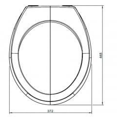 Assento sanitário Universal Oval Luxo cinza convencional resina termofixo