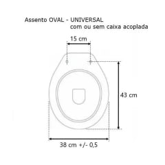 Assento sanitário Universal Oval Solution soft close polipropileno