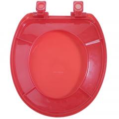 Assento sanitário Universal Oval Solution vermelho cristal soft close polipropileno