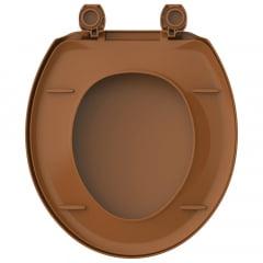 Assento sanitário Universal Oval Exportação Plus caramelo convencional polipropileno