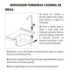 Torneira de mesa cozinha bica alta móvel Cross Tigre
